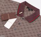 GUCCI Men's Polo T-Shirt, GG Print Brown Short Sleeve Polo Shirt 100% Cotton