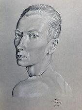 Schizzo disegno ritratto arte originale firmato MATITE COLORATE A3