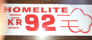 Homelite Go-Kart Decal OLD SCHOOL 1960 KR 92  Decal Reproduced From Original