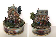 "Thomas Kinkade ""Stonebrook Inn"" Porcelain Illuminated Music Box 2002 Retired"