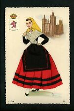 Embroidered clothing postcard Artist Gumier Spain Leon woman costumes #34