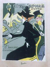 RARE VTG 1940'S TOULOUSE LAUTREC ORIGINAL SILKSCREEN PRINT DIVAN JAPONAIS 1893