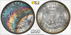 1887-P Morgan Dollar PCGS MS65 CAC Gorgeous Colorful Rainbow Toned