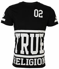 TRUE RELIGION Mens T-Shirt STARTER Black with White Print $95 Jeans NWT