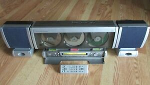 Emerson Triple Play 3 Disc CD Changer AM/FM Radio  + Speakers + Remote MS3100