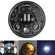 "5 3/4"" Round LED Headlight With Amber Turn signal For Harley Motorcycle 5.75"""