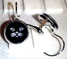 Ohrringe Katzenauge Tiere Blau Damen Ohrschmuck Rund Modeschmuck Glas Leverback