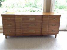 John Widdicomb Mid Century Modern Walnut U0026 Brass 9 Drawer Dresser And Mirror .