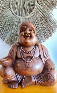 Bali Art Wood Happy Buddha hand Carved Statue FENG-SHUI XLARGE Bulky Heavy