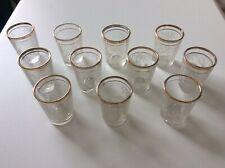 Set of Eleven Vintage Etched Deer Gilded Shot Glasses