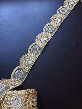 """0.49 meters gold 2.5"""" diamante lace trim mirrors beads stones edge border craft"""