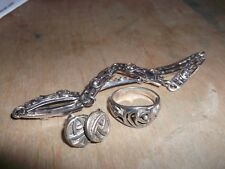 Silver 925 Rennie Macintosh Rose design - bracelet, ring and earrings set