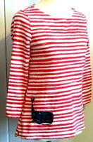 Talbots Women's Small red white striped nautical 3/4 sleeve t shirt sequin whale