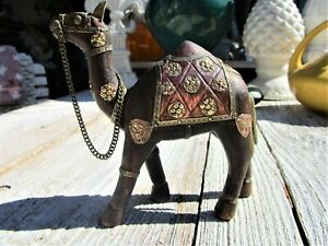 Vintage Hand-carved Wooden Camel Figurine with Brass Copper Detail