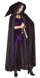 Cape Full Length Blk Velour Hooded Cloak W/ Printed Spider Web & Purp Spider