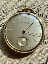 Vintage Bulova Pocket Watch, 17AH Swiss, 17 Jewels, 10k RG Case, Runs Nicley!