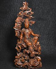 China Buddhism Boxwood Wood Carved GuanYin Kwan-yin Avalokitesvara Buddha Statue