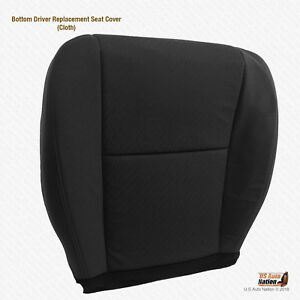 2011 2012 GMC Sierra 2500HD - Driver Bottom Replacement Cloth Seat Cover BLACK