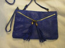ITALY GENUINE LEATHER PURPLE COLOR HANDCRAFTED PURSE HAND BAG Wristlet