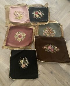 6 Vintage Antique Floral  Needlepoint Chair Pad Seat Covers