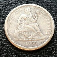 1866 S OR is it a P Seated Liberty Dime 10c Higher Grade VF #22868