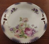 """P & K SILESIA Pink Rose With Purple Trim Double Handled Cake Plate 9 1/4"""""""