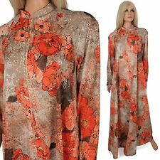 Vintage 70s CAFTAN Robe Loungewear House Maxi Dress Mod Party Floral Lounger - L