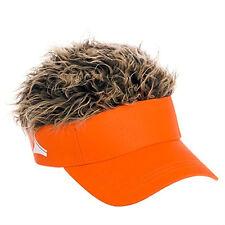 FLAIR HAIR HATS WITH HAIR ORANGE VISOR BROWN HAIR QUALITY SURF SKATE SNOW GOLF
