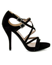 LANVIN Black Suede Strappy Criss Cross Sandal Heels Crystal Buckle 36 5.5 $1180