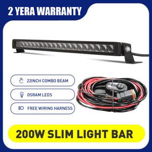22inch OSRAM Offroad LED Light Bar Slim 200W Black Spot Flood Combo SUV 12V 24V