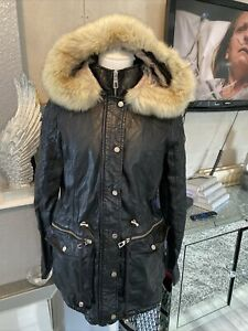 Lipsy Faux Leather Parka Jacket With Gorgeous Fur Hood Size 12