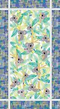 "Fabric Koala Bear Baby & Eucalyptus Tree on White Cotton Panel 22""x42"""