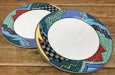 Christopher Stuart Rave 2 Dinner Plates Optima Fine China 12034 HK100 Dance 1990