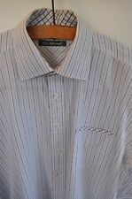 Ben Sherman blue stripe shirt with link cuffs size large casual mod skin