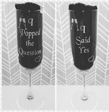 Pair of Engraved Engagement Champagne Flutes - I popped the question