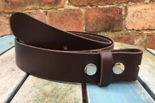 Dark Brown Leather Press Stud Snap Belt Choice of Widths Handmade Real Leather