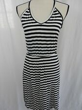 H&M Size XS Knit Racer Back Sleeveless V Neck Black and White Stripe EUC