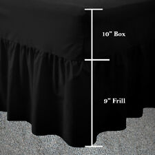 Single Black Frilled Fitted Valance Sheet Plain Dyed Fitted Valance Sheets Black