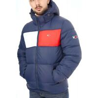 TOMMY JEANS Mens Colourblock Padded Hooded Jacket (Navy)