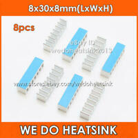 8pcs Long 8x30x8mm Aluminum Heatsink With Thermal Double Side Tape for IC