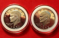 1971 S & 1972 S EISENHOWER IKE 40% SILVER DOLLARS GEM PROOF CAMEO IN CAPSULES