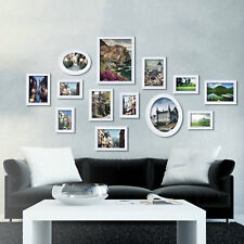 Decorative Home Wall Hanging Gallery Picture Art White Wood Frames Set