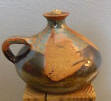 """Vintage Studio Pottery Oil Lamp Unused Wick 5 x 4"""" Signed"""