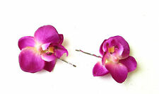 2 x Purple Orchid Flower Hair Grips Clips Bridesmaid Bobby Pins Slides 50s 2072