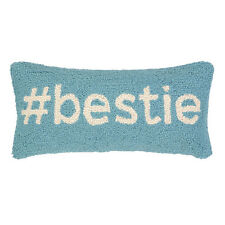 HASHTAG # BESTIE SAYING PILLOW : TEEN FRIENDS GREEN TOSS CUSHION HOOKED WOOL