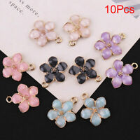 10x/Set Enamel Alloy Flower Charms Pendant Jewelry Findings DIY Craft Making SO