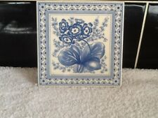 LOVELY VINTAGE ENGLISH BLUE AND WHITE TILE NICE DECORATION