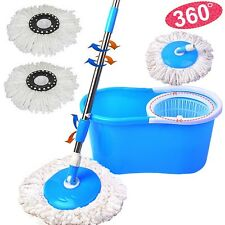 Blue 360° Rotating Easy Magic Floor Spin Mop Bucket w/2 Microfiber Mop Head