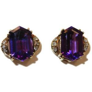 14K Yellow Gold 5.6 ct Amethyst & 0.06 ct Diamond Earrings 3.7 grams