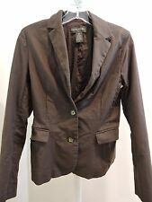 Banana Republic Cotton Blend Brown Lined 2 Button Jacket - Size - 6